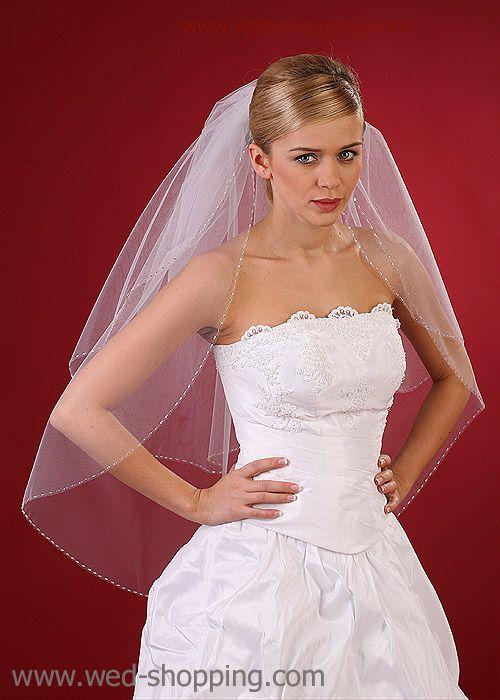 Bridal Veil with  silver straw