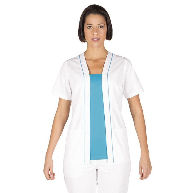6071 blusa de mujer Anna de color blanco combinado con turquesa y en manga corta