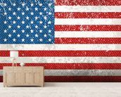 Vintage American Flag mural wallpaper living room preview