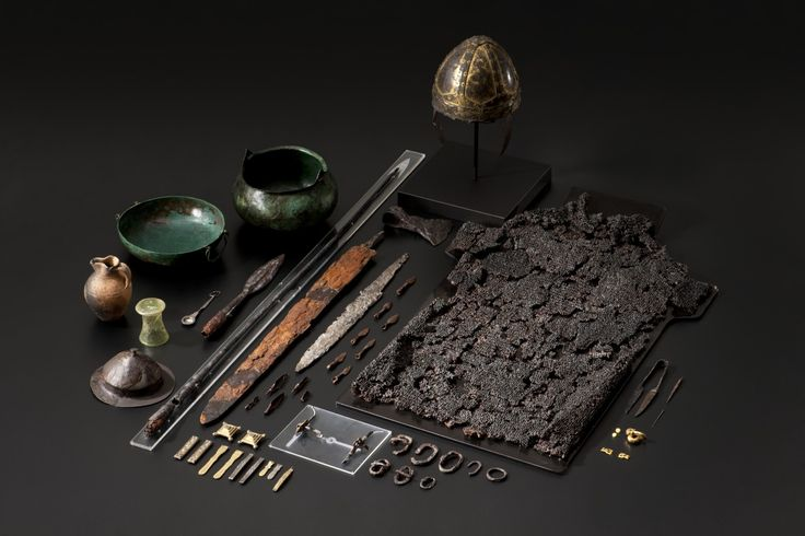 """museum-of-artifacts: """"Early Medieval grave findings from Gammertingen Germany, 6th century, the princely man was wearing a golden helmet and mail armor. Beside him lay his weapons including a sword, an ax, a throwing spear, and an ornate lance...."""