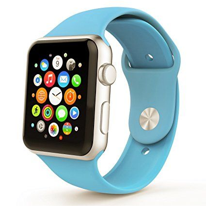 Apple Watch Band 42mm, Soft Silicone Sport iWatch Band Replacement Wrist Bracelet Strap with Pin-and-Tuck for Apple Watch 42mm Series 1 Series 2 All Models – M/L Blue Review 2017