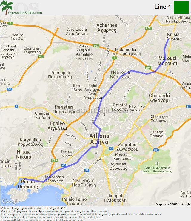 Mapa metro Atenas Line 1