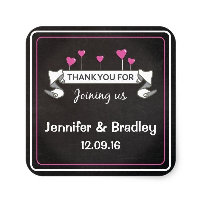 Chalkboard Pink Heart Balloons Scroll Wedding Square Sticker