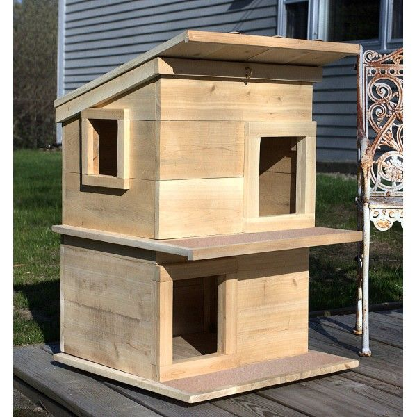 Double Deck Outdoor Cedar Wood Cat House Shelter