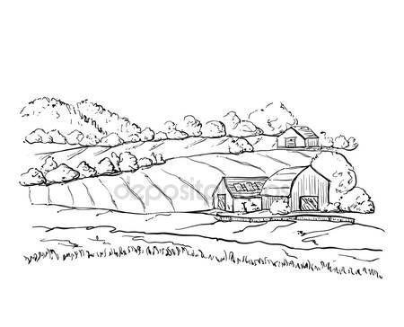 Скачать - Деревенские дома эскиз и природа — стоковая иллюстрация #121805878