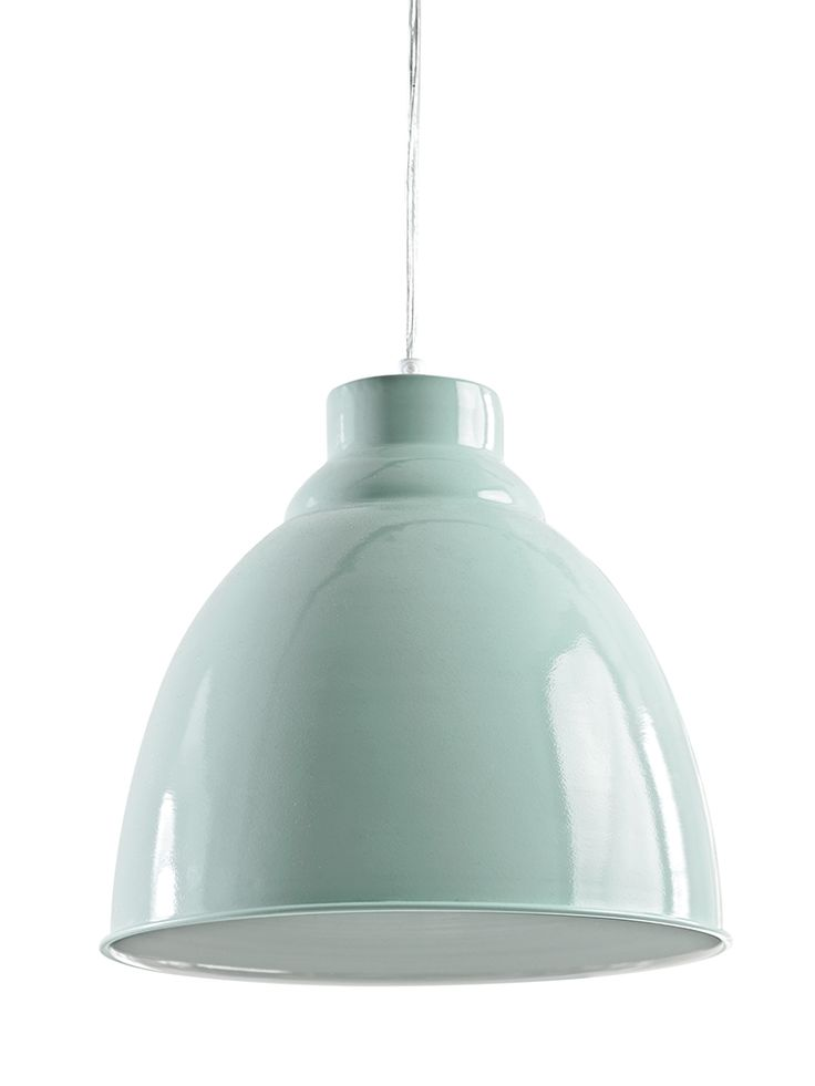 Carefully handmade from iron with a beautiful duck egg finish, this simple and stylish pendant is perfect for adding a pop of colour to your space. Each domed pendant includes a simple clear flex, matching ceiling rose and gloss white interior to reflect the light into your space. Display in your kitchen to brighten up your space or team three of these large pendants together over your family dining table. Click here to view our useful lighting buying guide, andtake a look at our blogfor…