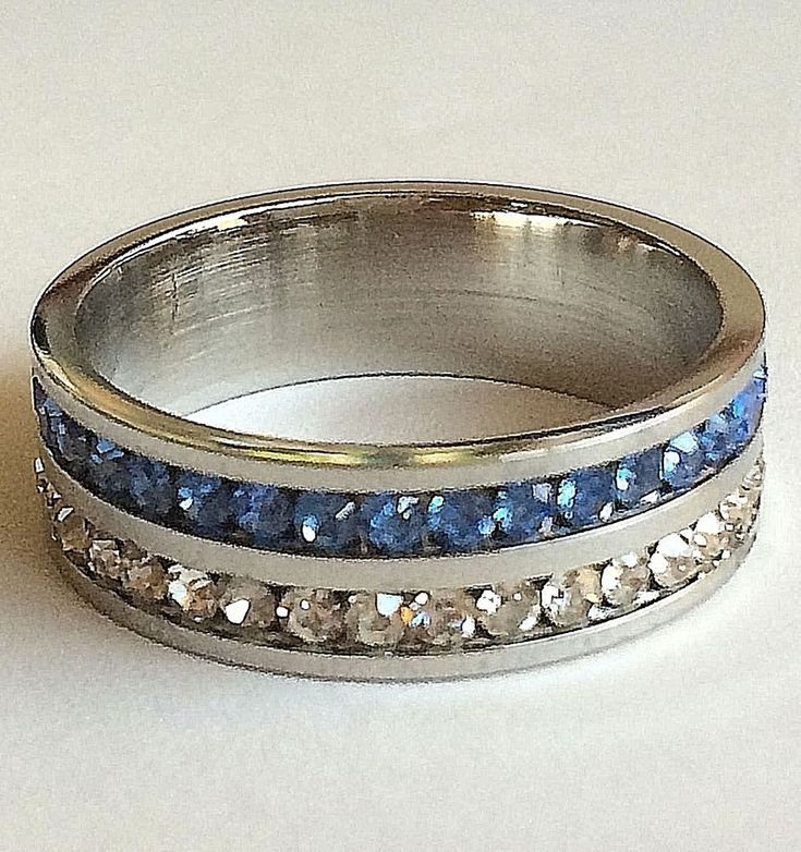 Stainless Steel Eternity Ring Double Band Silver Blue Size 11 11.5  USA Seller #Unbranded #Eternity