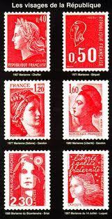 Marianne et tous ses looks bien léchés... ( le timbre auto-collant n'existait pas encore ! )