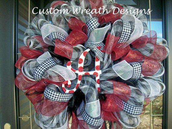 Deco Mesh Houndstooth Alabama Wreath with Hat. $85.00, via Etsy.