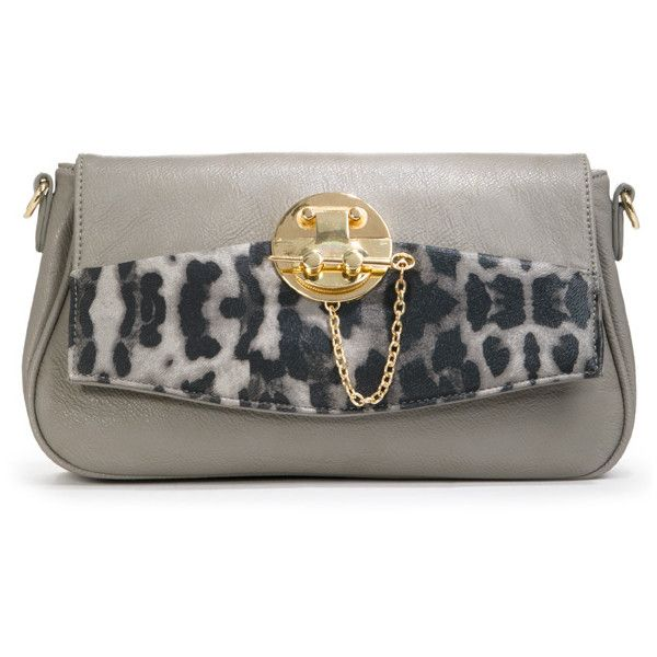 Justfab Clutches Chance ($40) ❤ liked on Polyvore featuring bags, handbags, clutches, grey, apparel & accessories, wallets & cases, leopard print handbags, man bag, leopard print clutches and leopard clutches