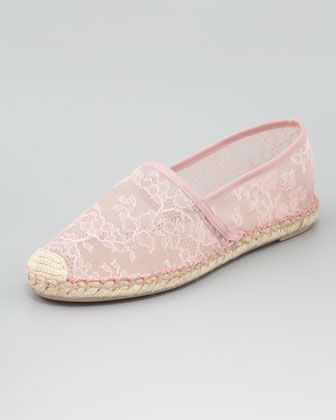 Flat Lace Espadrille, Gardenia by Valentino at Neiman Marcus.... so cute!
