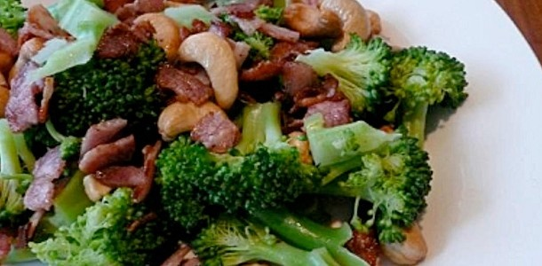 ... bacon, fat removed, diced; 1/2 cup toasted cashews; 1 tablespoon olive