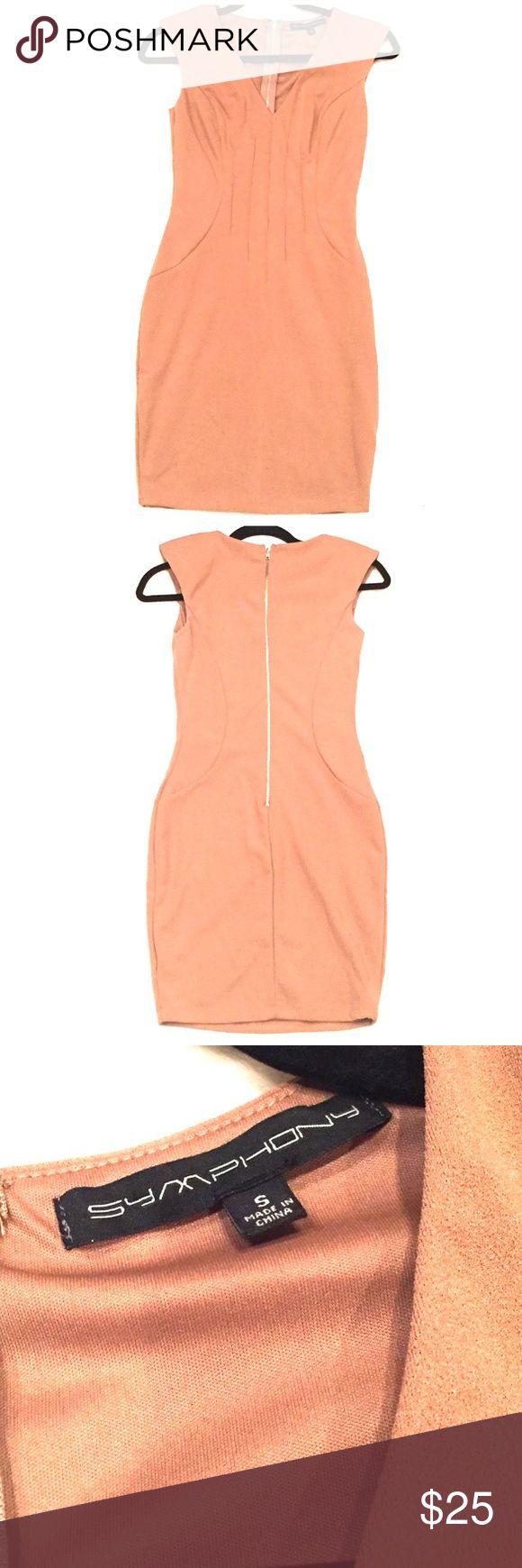 Dress Camel Body Con Dress •Size Small •Zipper along the back •95% polyester, 5% spandex  •Shoulder pad Only worn once👗🐪👠 Symphony Dresses Midi
