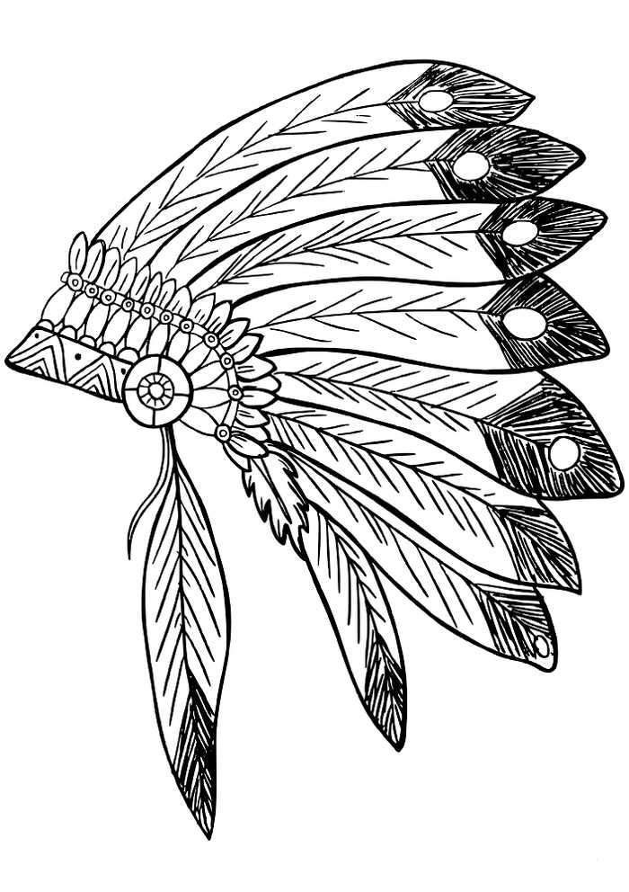 Native American Feather Headdress Coloring Page Native American