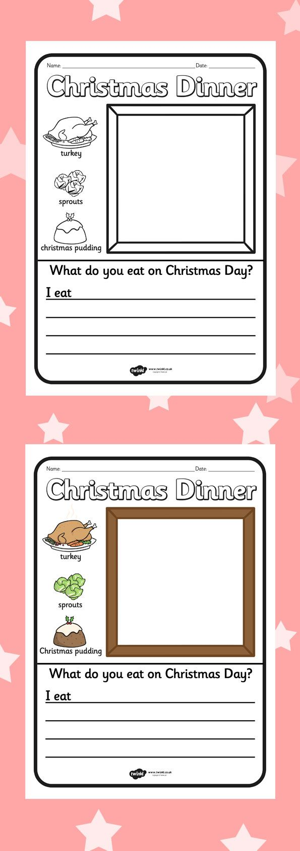 Christmas colouring in sheets twinkl - Twinkl Resources Christmas Dinner Writing Frame Printable Resources For Primary Eyfs