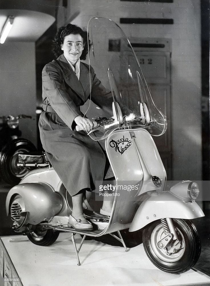A Douglas Vespa 125 cc machine exhibited at the Earls Court Motor Show, London 1949