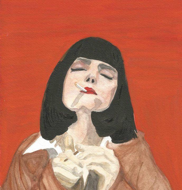 Mia, Pulp Fiction. Watercolor