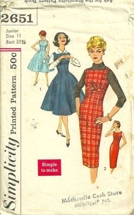 Simplicity 2651 1950s Jumper, Sheath or Full Dress Pattern Womens Vintage Sewing Pattern Size 11 Bust 31 1/2 - Pattern Gate
