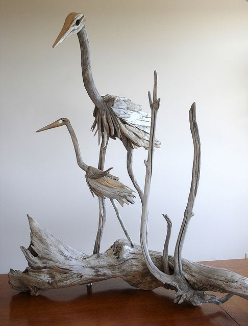 Driftwood Heron Hen and Chick by Vincent C. Richel, via Flickr