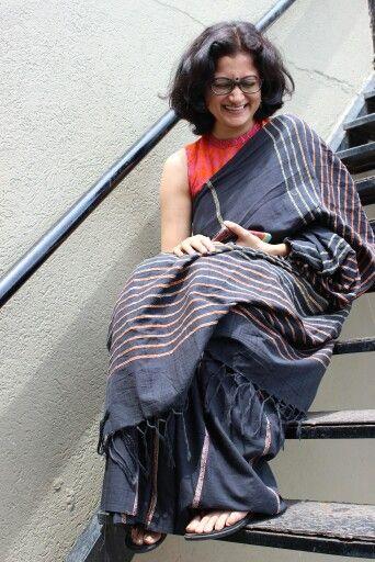 Khesh saree from Santiniketan, Birbhum district of West Bengal, India