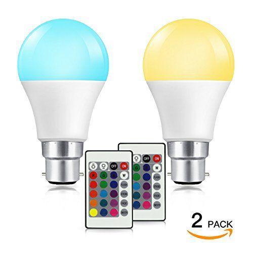 SHINE HAI RGB Ampoule LED B22 A60,Dimmable avec 16 couleurs changeables, Multicolore,Controle à distance,Télécommande incluse,7W,500LM,…