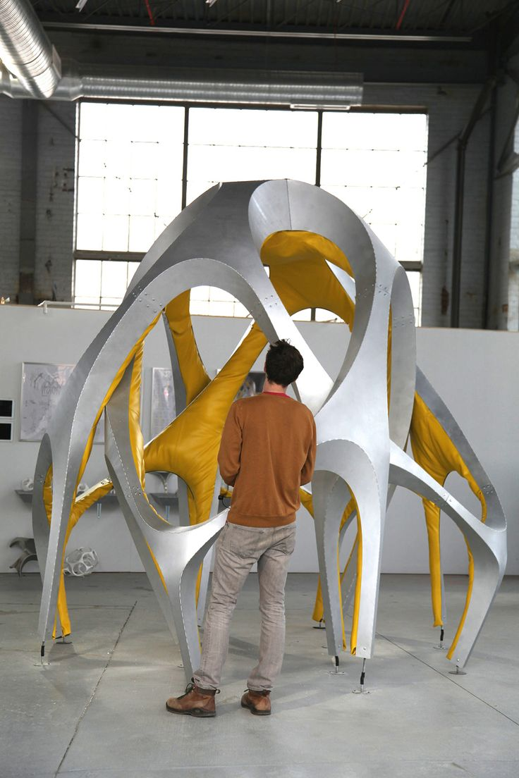 """Rebecca BRAUN & Tyler SMITH, """"Foldout Couch, Somewhere Between a Couch and a Spaceframe."""""""