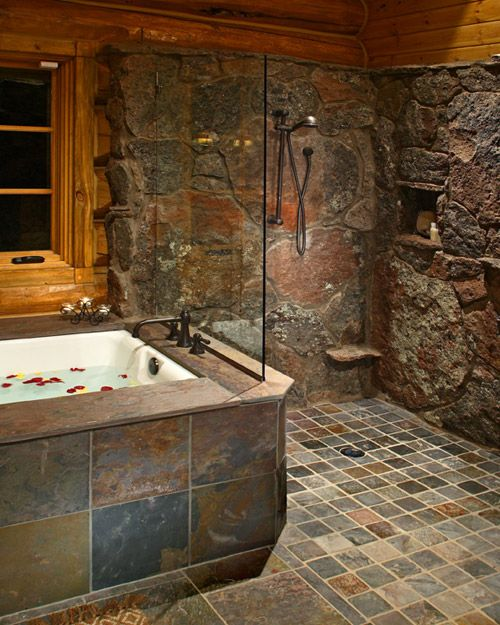 50 best bathrooms images on pinterest bathroom showers for Rustic stone bathroom designs