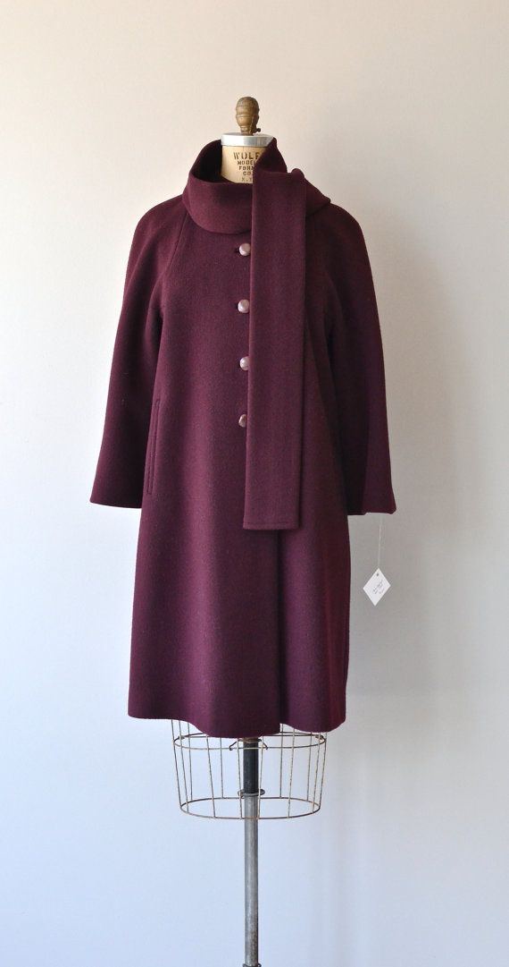Berry Compote coat 1960s wool coat vintage 60s by DearGolden
