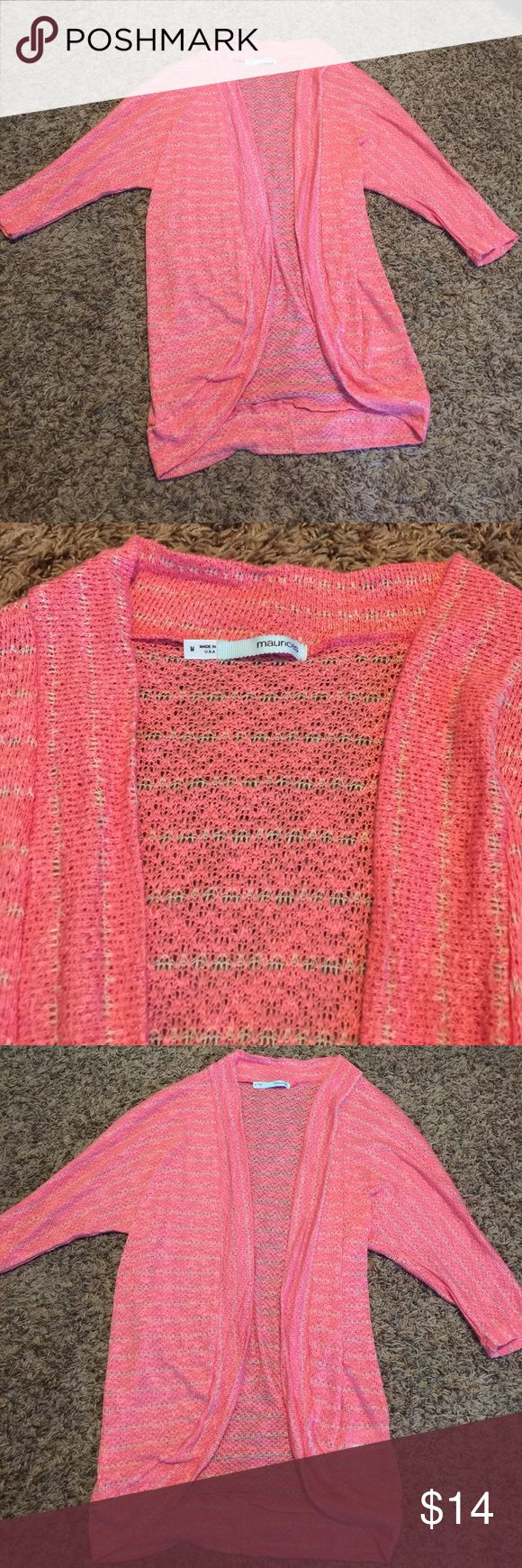 Very light coral cardigan This sweater is very cute. It is nice and light. It is coral with tan stripes. This looks brand new. Maurices Sweaters Cardigans