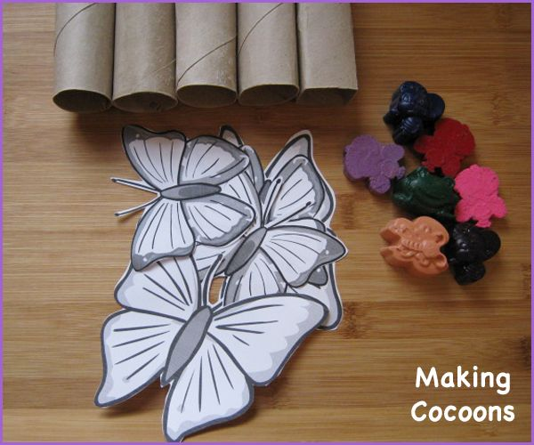 Making Cocoons   A very simple activity that is perfect for teaching young children the concept that the Butterfly emerges from the cocoon.  Free Butterfly template at http://kindergardening.co.uk/index.php/2017/07/17/butterflies/   EYFS