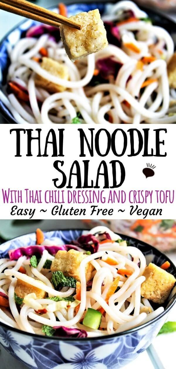 A fresh and spicy Thai noodle salad made with rice noodles, fresh herb and toppe…