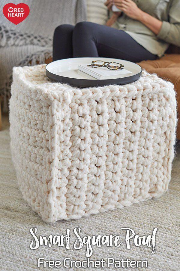 Smart Square Pouf Free Crochet Pattern In Irresistible Yarn Feel