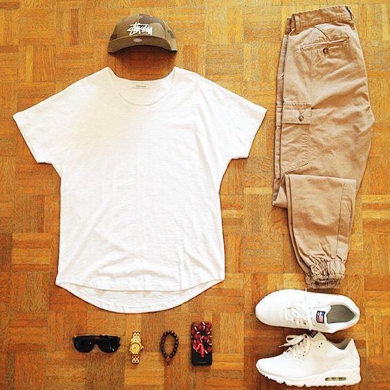 Calça Jogger. Macho Moda - Blog de Moda Masculina: CALÇA JOGGER MASCULINA: Dicas de Onde Comprar no Brasil. Moda Masculina, Moda para Homens, Roupa de Homem, Street Wear. Camiseta Lisa Branca, Calça Jogger de Sarja, Nike Air Max Branco, Boné Camuflado