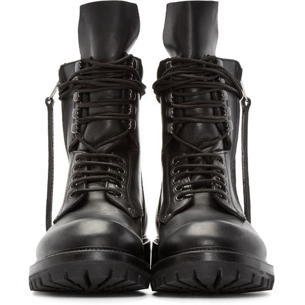 Rick Owens Black Leather Army Boots ($1,650) ❤ liked on Polyvore featuring men's fashion, men's shoes, men's boots, mens lace up shoes, mens round toe cowboy boots, mens leather shoes, mens zipper boots and mens leather zipper boots
