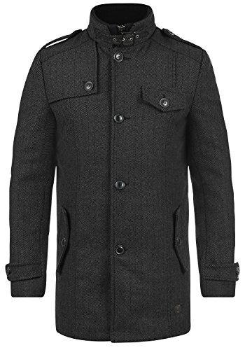 #INDICODE Brandan Herren Wintermantel lange Woll-Jacke mit Stehkragen aus hochwertiger Wollmischung, Größe:S, Farbe:Black (999), 05713927050984