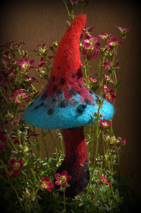 Lava and water felted mushroom Made to order by Petradi on Etsy