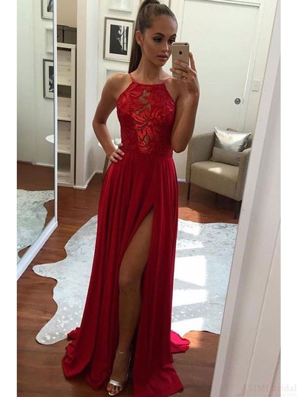 red prom dresses, long split prom dresses, halter prom dresses,#promdresses #SIMIBridal