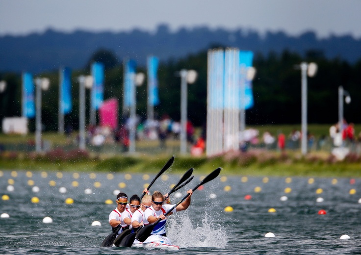 AUGUST 06: Louisa Sawers, Angela Hannah, Rachel Cawthorn and Jess Walker of Great Britain compete in the Women's Kayak Four (K4) 500m Sprint semifinal on Day 10 of the London 2012 Olympic Games at Eton Dorney on August 6, 2012 in Windsor, England.