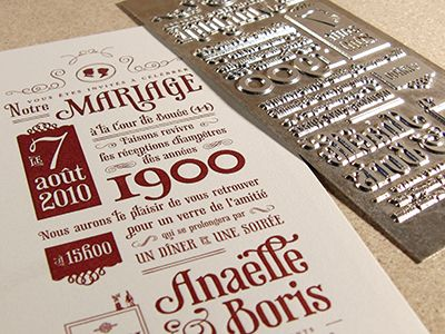 Wedding Invite - final letterpress result