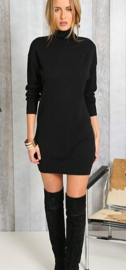 Fashion Solid High Neck Sweater Dress..For more follow @YanaEaston