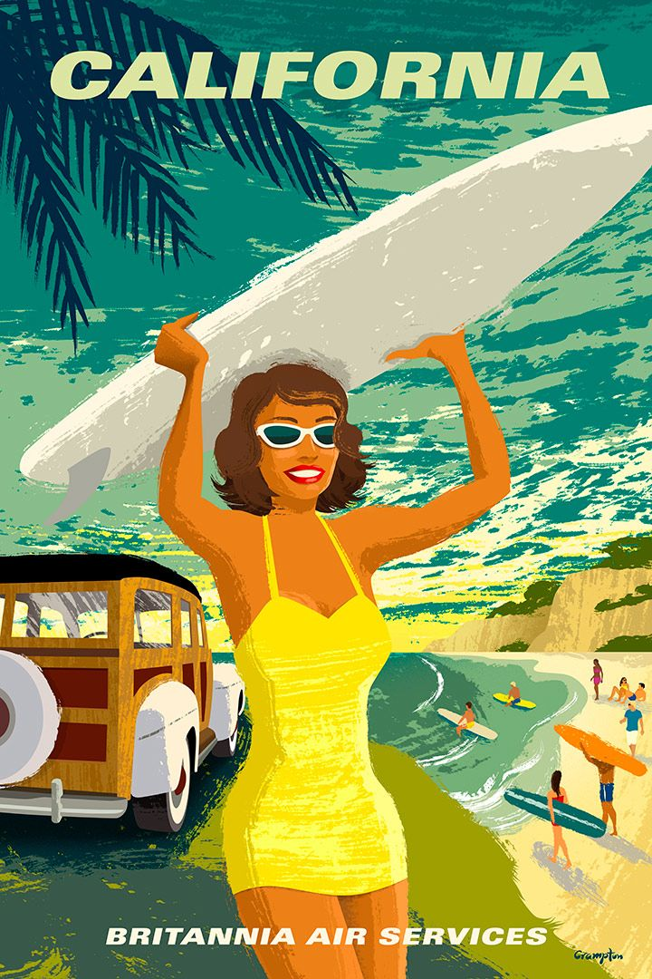 1960's style airline travel poster by Michael Crampton