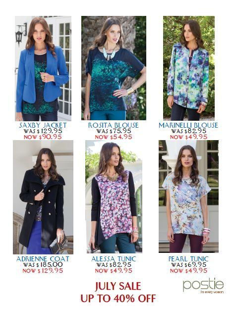 Ladies Fashions discounted for July. Great bargains in red and blue jackets,floral tunics,and a fabulous winter coat.