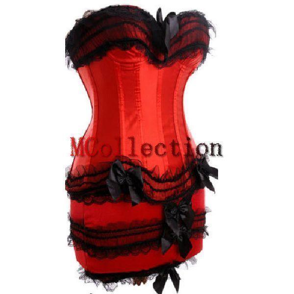 Plus Size Red Burlesque Moulin Rouge Lingerie Corset Dress & Skirt Fancy Dress