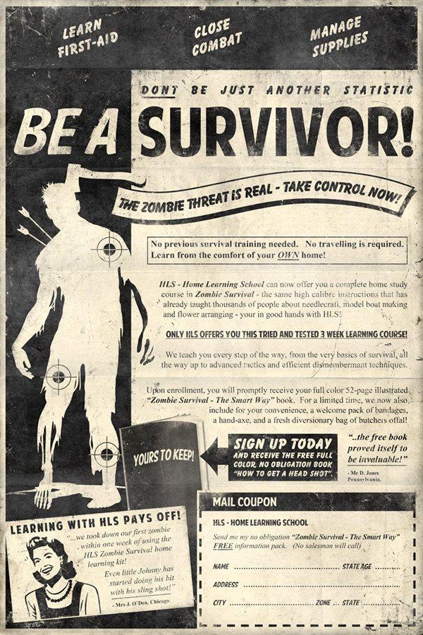 Zombie Survival 13x19 Inch Poster. £20.00, via Etsy.