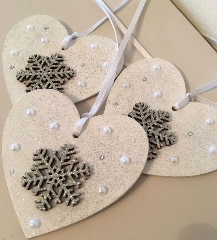X3 Snowflake Hanging Heart Wooden Christmas Decorations - Shabby Chic - Crystal