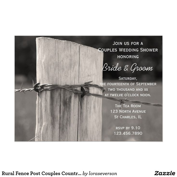 Rural Fence Post Couples Country Wedding Shower Card Invite your male and female guests to a co ed party honoring the bride and groom to be with the charming Rural Fence Post Couples Country Wedding Shower Invitation. This rustic chic custom ranch style Jack and Jill Shower Invite features a quaint black and white farm photograph of a wooden fence post and barbed wire.
