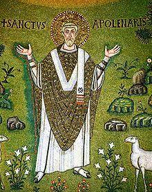 Święty Apolinary w pozie oranta - fragment mozaiki z absydy bazyliki Sant'Apollinare in Classe w Rawennie, VI wiek