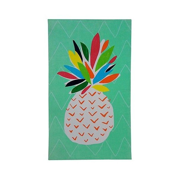 Printed Pineapple Beach Towel (14 AUD) ❤ liked on Polyvore featuring home, bed & bath, bath, beach towels, pattern beach towel and oversized beach towels