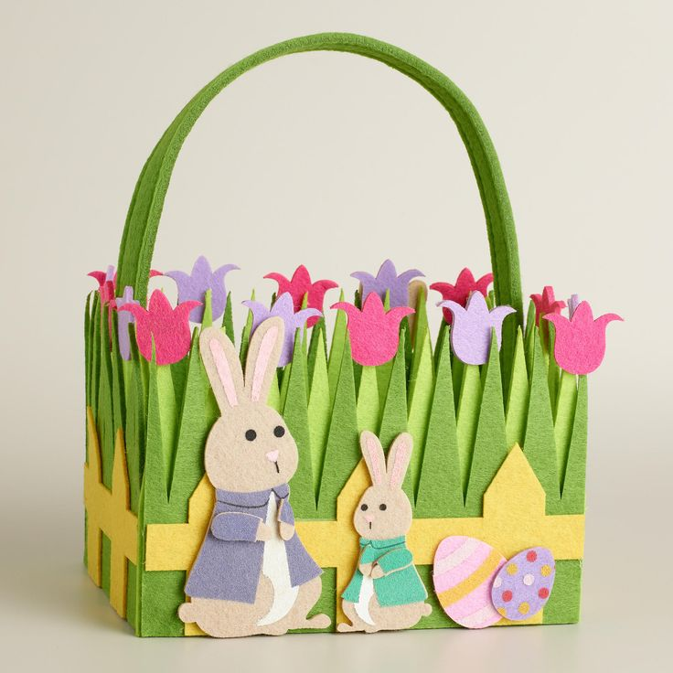 Adorable DIY Easter Basket Craft with Lovely Flowers and Green Grass and Yellow Fences also Adorable Bunnies and Decorative Easter Eggs Idea
