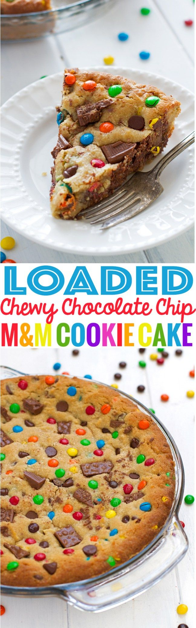 Loaded Chewy Chocolate Chip M&M Cookie Cake #cookiecake #cookie #cake #chewychocolatechipcookie | Little Spice Jar